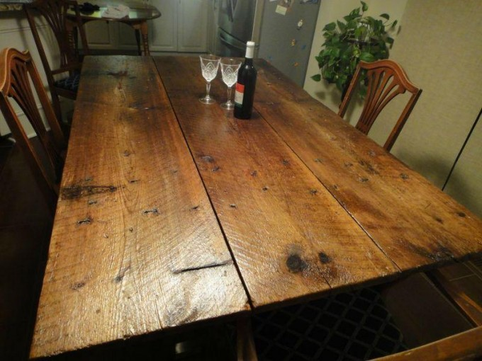 Barn Door Dining table on Brushed Nickel Legs « Ibuildfurniture