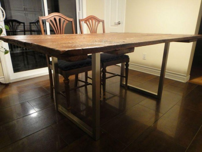 Barn Door Dining Table On Reclaimed Brushed Nickel Legs