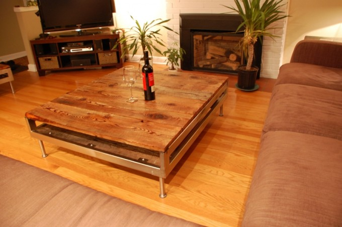 barn board coffee table on reclaimed stainless steel base - Barn Board Coffee Tables