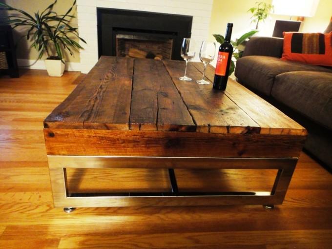 Barn board coffee table on reclaimed chrome base for Barn board coffee table