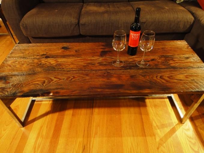 Long barn board coffee table on reclaimed chrome base for Barn board coffee table