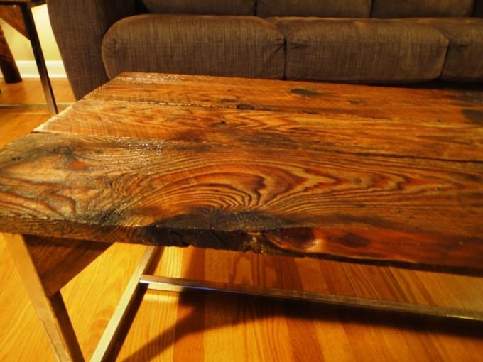 Long Barn Board Coffee Table On Reclaimed Chrome Base Ibuildfurniture