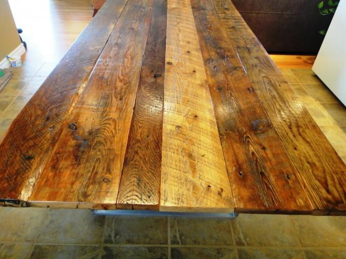Reclaimed Barnboard Table On Brushed Aluminum Base Ibuildfurniture - Brushed aluminum table base