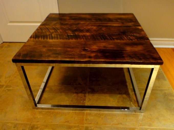 square barn board coffee table on reclaimed chrome base - Barn Board Coffee Tables