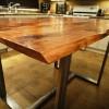 Pub Height Barn Board Table On Industrial Steel Base