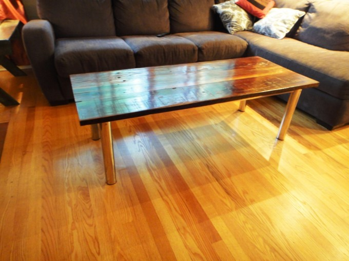Barn Board Tubluar Reclaimed Chrome Base Coffee Table 1 Ibuildfurniture