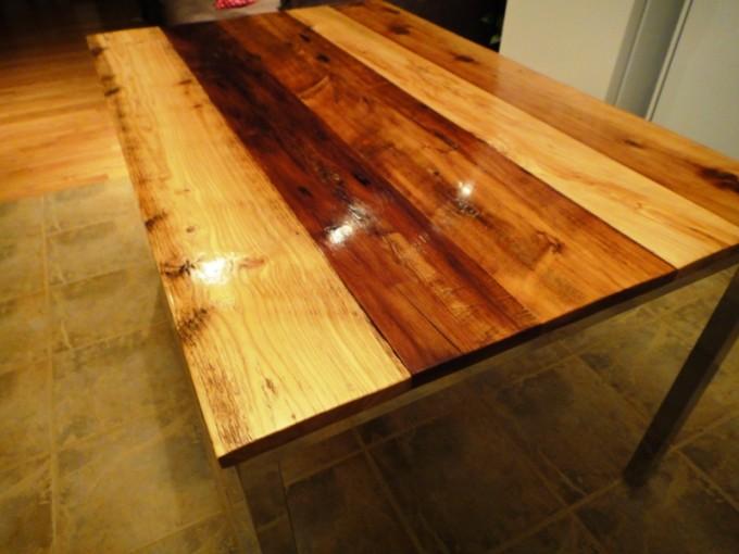 Condo Size Barn Board Dining Table On Reclaimed Chrome