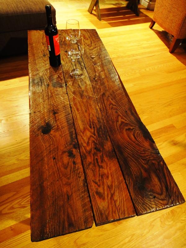 Long Barn Board Coffee Table on Reclaimed Chrome Base ...